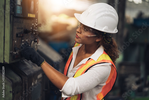 Professional engineering, worker, woman Quality control, maintenance, check in factory, warehouse Workshop for factory operators, engineering women control Canvas Print