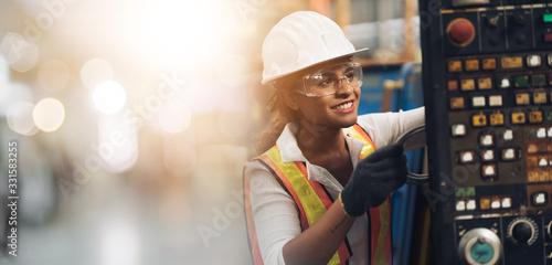 Slika na platnu Professional engineering, worker, woman Quality control, maintenance, check in f