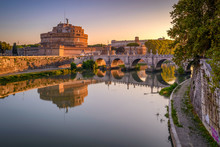 Ponte Sant'Angelo. St Angel Bridge During Early Morning, Rome, Italy