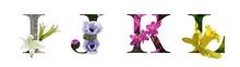 Flower Font Letter I, J, K, L ...