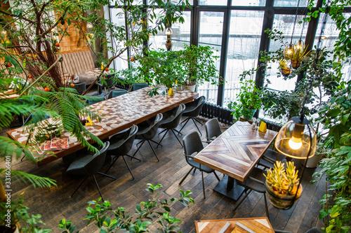 Interior of modern loft style restaurant Fotobehang