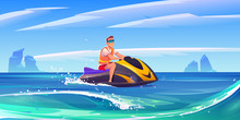 Man On Jet Ski In Sea. Young M...