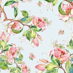 Fototapeta Do pokoju Watercolor seamless pattern of spring branches