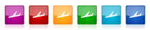 Arrivals Icon Set, Colorful Sq...