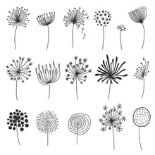 Doodle Dandelion Set. Hand Dra...