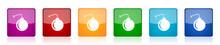 Bomb Icon Set, Colorful Square...