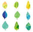 Vector set of the picture in watercolors style leaf(水彩風の葉っぱベクター画像)