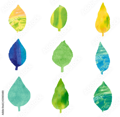 Foto Vector set of the picture in watercolors style leaf(水彩風の葉っぱベクター画像)