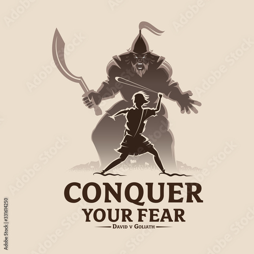 Fotomural Conquer your fear David and Goliath