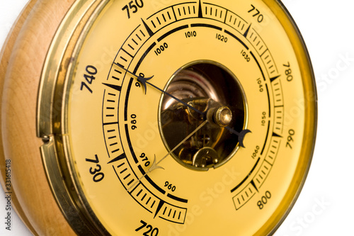 Photo Vintage style barometer isolated on white wall background