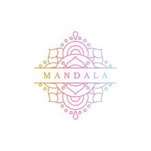 Round Gradient Mandala On White Isolated Background. Mandala Vector Logo Illustration. Mandala With Floral Patterns. Yoga Template