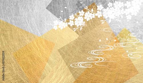 Photo 金色の和紙を背景にした桜