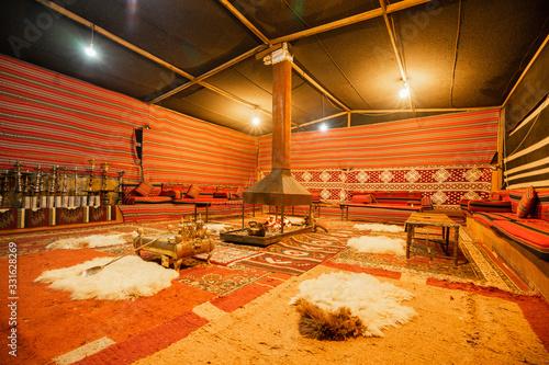 Inside of a traditional Bedouin tent in Arab desert. Wallpaper Mural