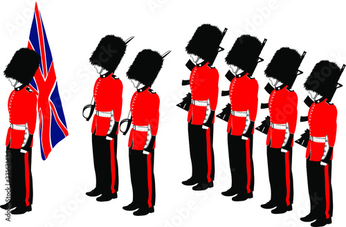 Photo Several traditional British Royal Guard soldiers with different outfits
