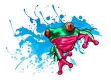 Animal Red Frog With Flower Ve...
