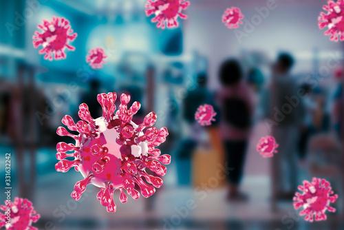 Fototapeta Coronavirus Covid-19 spread in the public place, shopping mall, transportation, 3d rendering with photo background. obraz