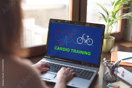 Obraz Cardio training concept on a laptop screen - fototapety do salonu