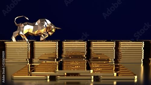Fototapeta Rising gold prices on the stock market. 3d illustration. obraz