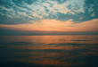 Breathtaking seascape in Thailland in summer. Blue and pink sunset. Sandy beach is full of wildness and freshness. Suitable for poster template, leaflet, greeting card. Back lit. Touristic concepts.