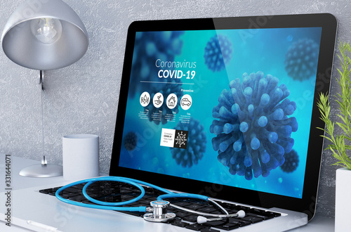 medical desktop computer with covid-19 info - 331644071