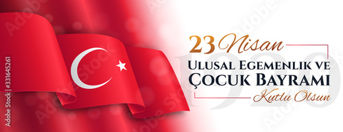 Fotografia Panorama banner for 23 Nisan with Turkish flag celebrating National Sovereignty and Children's Day with text below
