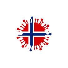 Covid-19 In Norway, Coronavirus Style Flag Design Vector