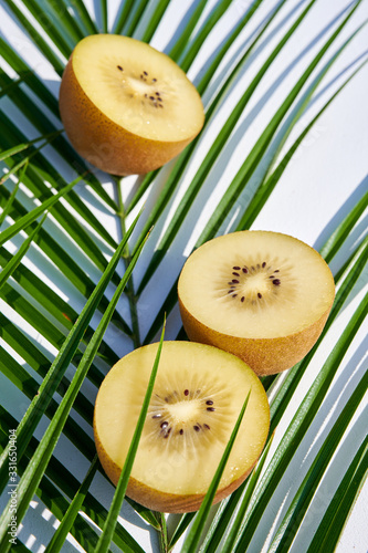 Photo Green palm leaf with three halves of ripe golden kiwi laying on it, vertical close-up shot on white natural background in harsh sunlight