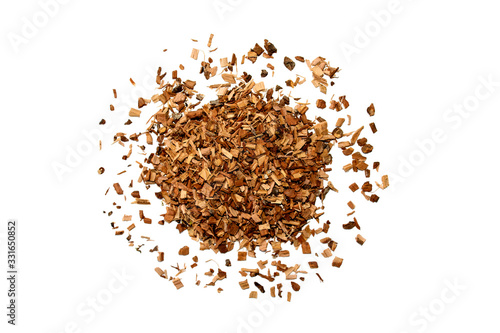 Heap of dried brown oak bark isolated on white background for medical use Wallpaper Mural