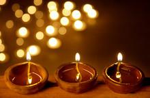 Earthen Lamps Lit For Festival
