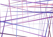 Colorful Purple, Lilac Abstract Geometric Art With Random, Chaotic Lines. Straight Crossing, Intersecting Lines Texture, Stripes Pattern