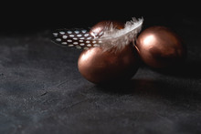 Golden Egg And Feather On Dark...