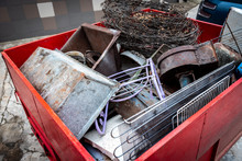 Collection Of Scrap Metal In Trailer.