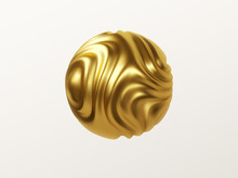 Golden Metal Organic Shape 3d Sphere Isolated On White Background. Trend Design For Web Pages, Posters, Flyers, Booklets, Magazine Covers, Presentations. Vector Illustration