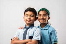Cheerful Indian School Kids In...