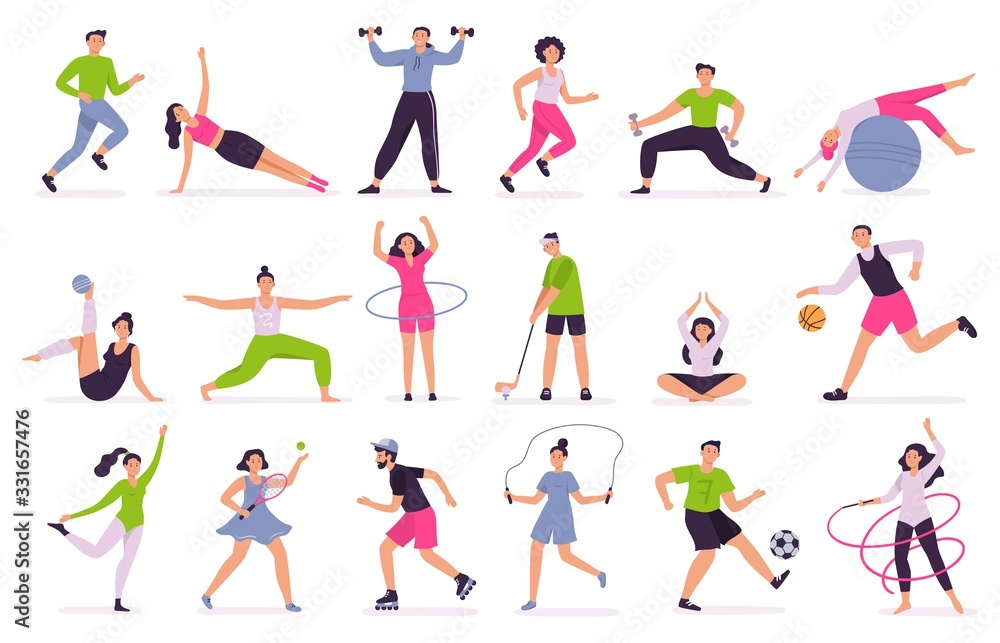 Fototapeta People performing sports activities. Vector illustration set. Character activity training, fitness and action, performing together