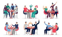People Sitting At Cafe Table. Couples In Love On Date, Cafe Meeting With Friends Vector Illustration Set. People In Restaurant Or Cafe, Couple Talking