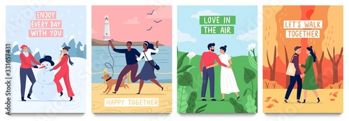 Obraz Couples in love poster. Vector illustration set. Couple love girl and boy, romantic card relationship, female and male passion collection banner - fototapety do salonu