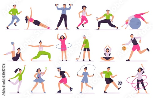 Fototapeta People performing sports activities. Vector illustration set. Character activity training, fitness and action, performing together obraz