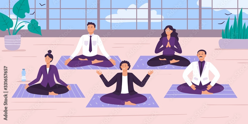 Fototapeta Yoga office workers. Vector illustration. Yoga worker position and meditation, office relax break, group rest and relaxing exercise