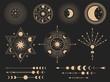 Mystic magic symbols. Vector illustration set. Magic mystery tattoo, spirituality esoteric occult masonic, freemasonry linear symbol