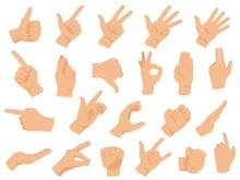 Hand Gestures. Vector Illustra...