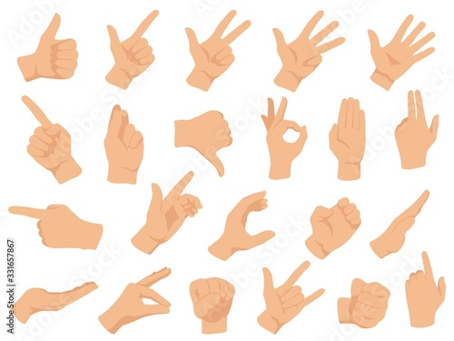 Obraz Hand gestures. Vector illustration set, counting fingers. Gesture palm, pointing hand, communication language, pose and gesturing - fototapety do salonu
