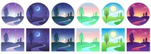 Landscape Time Icons. Sky And Field Daytime Circle And Square Icon Vector Set. Landscape Night And Day, Moon And Sun, Time Day Morning Different Illustration