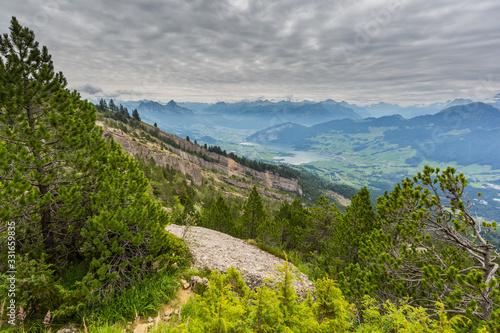 Fotografie, Obraz rockfall area Gnipen Goldau with view on Lake Lauerz and Swiss alps