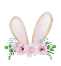 Easter Bunny Ears And Floral C...