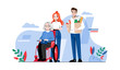 Concept Of Elderly People Help. Senior Woman In Wheelchair With Caring Volunteers Outdoor. Young People Take Care Of Woman. Support Of Old Aged People. Cartoon Linear Outline Flat Vector Illustration