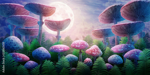 Fotografie, Obraz fantastic wonderland landscape with mushrooms and moon