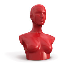 Red Female Mannequin. Bust. Ve...