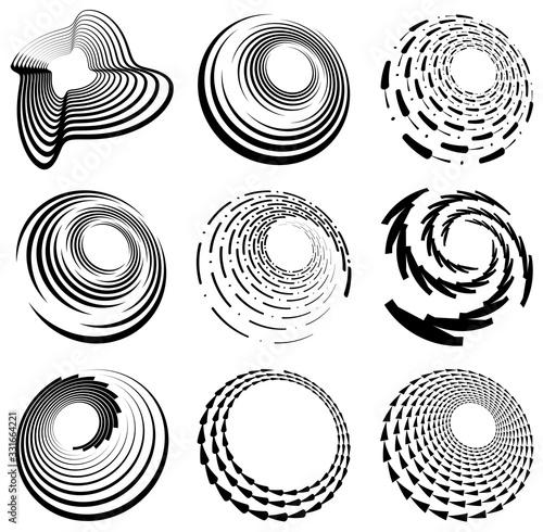 Set of black and white vortex, volute shapes Fototapet