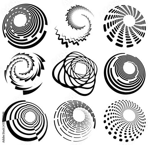 Fotografie, Tablou Set of black and white vortex, volute shapes